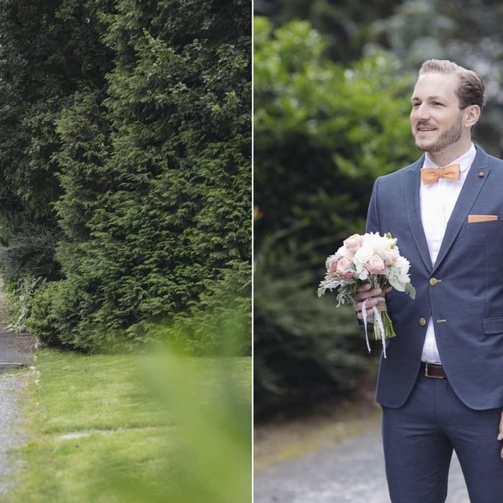 First Look Hochzeitsfotos: Das Brautpaar sieht sich zum ersten Mal kurz vor der Trauung.