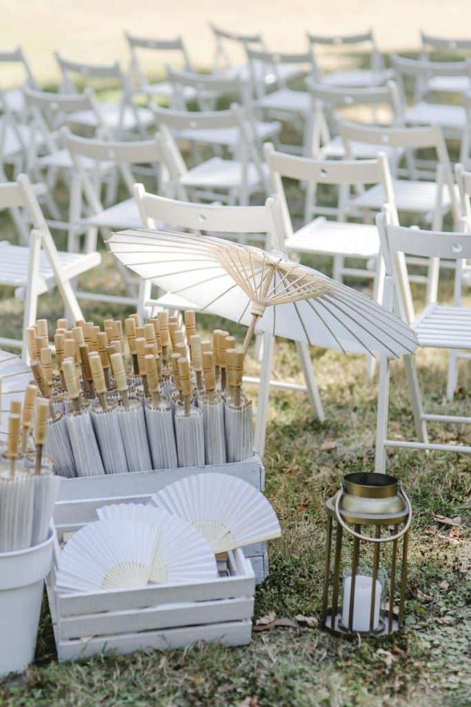 weiße Sonnenschirme für die Hochzeitsgäste bei einer Trauung im Freien auf dem Gelände von Rittergut Orr