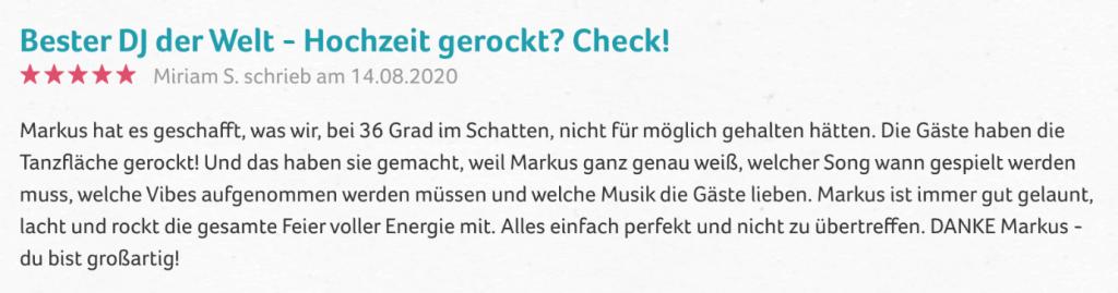 Hochzeits-DJ Düsseldorf Bewertung